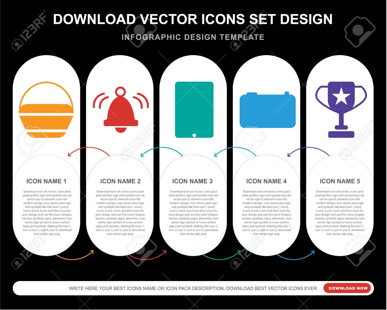 5 vector icons such as Shopping bag, Bell, Camera, Cup for infographic, layout, annual report, pixel perfect icon - 130332311