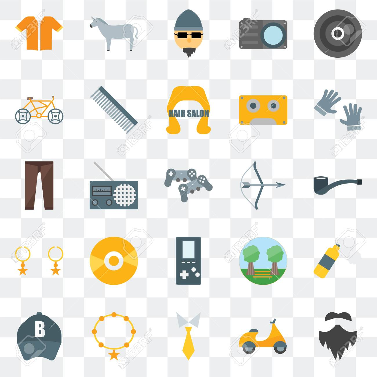 Set Of 25 transparent icons such as Hipster, , Tie, Accessory, Baseball cap, Archery, Accessory, Bicycle, Horn, web UI transparency icon pack - 130332342