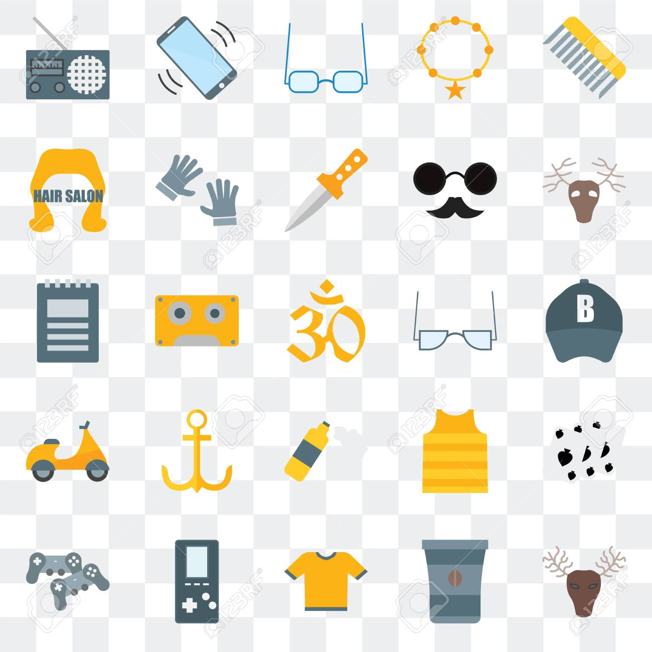 Set Of 25 transparent icons such as Hunted, Coffee cup, Shirt, Gamepad, Deer, Accessory, Foam, Hair salon, Sunglasses, Phone call, web UI transparency icon pack - 130332345