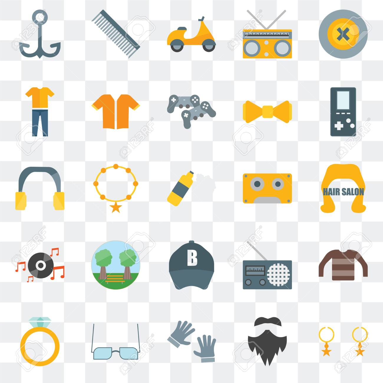 Set Of 25 transparent icons such as Accessory, Hipster, Accesory, Eyeglasses, Music player, Baseball cap, Long play, Clothing, Comb, web UI transparency icon pack - 130332353