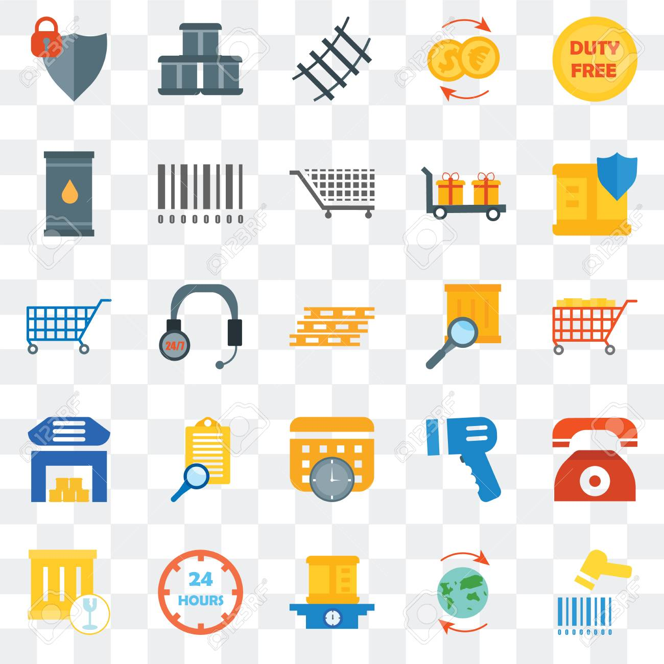 Set Of 25 transparent icons such as Barcode scanner, Worldwide,