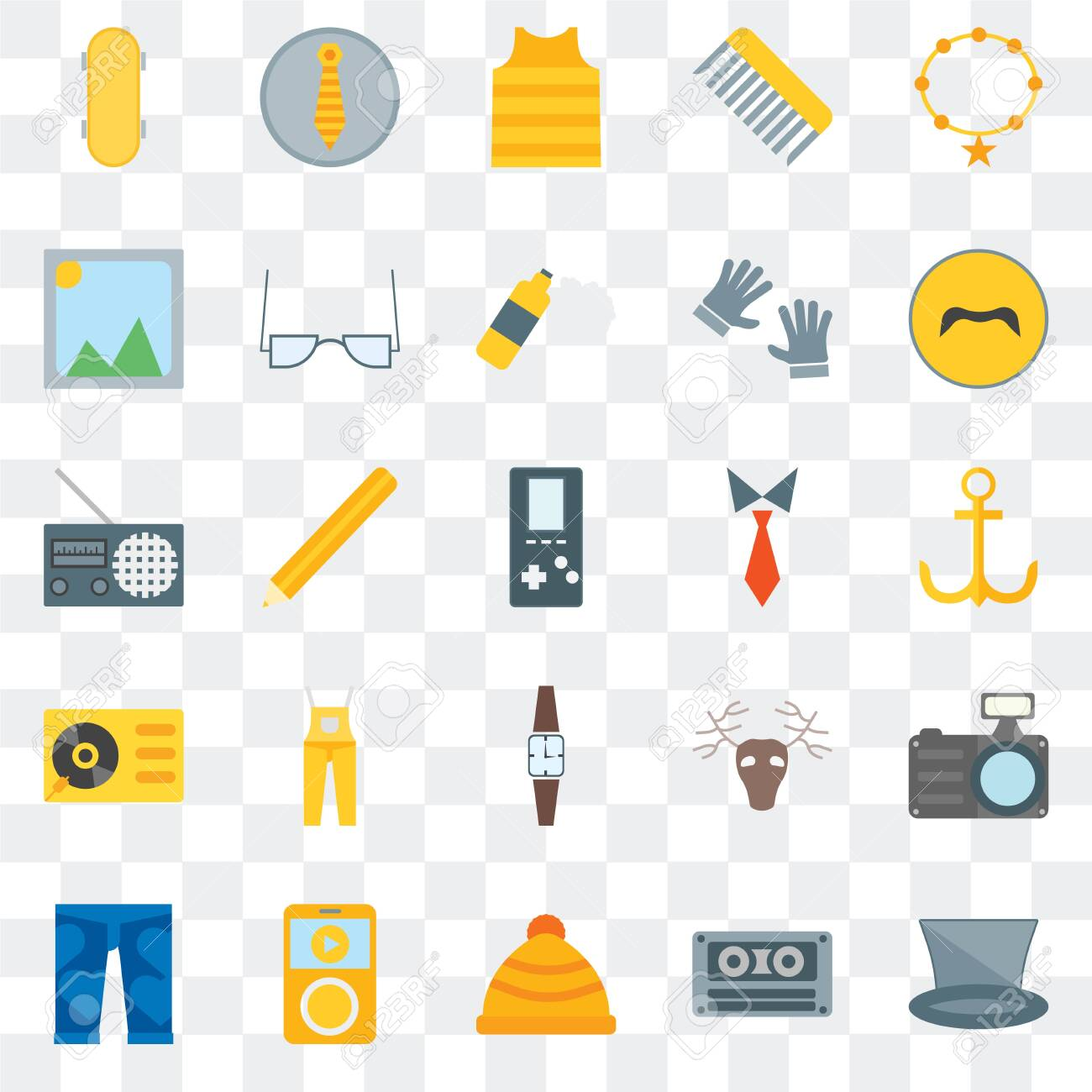 Set Of 25 transparent icons such as Accessory, Cassette, Winter hat, Clothing, Mustache, Tie, Wristwatch, Turntable, Picture, web UI transparency icon pack - 130332370