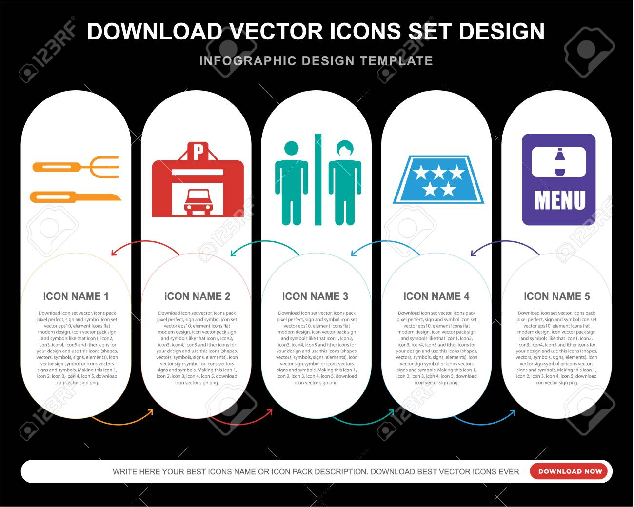 5 vector icons such as Cutlery, Parking, Toilet, Five stars,
