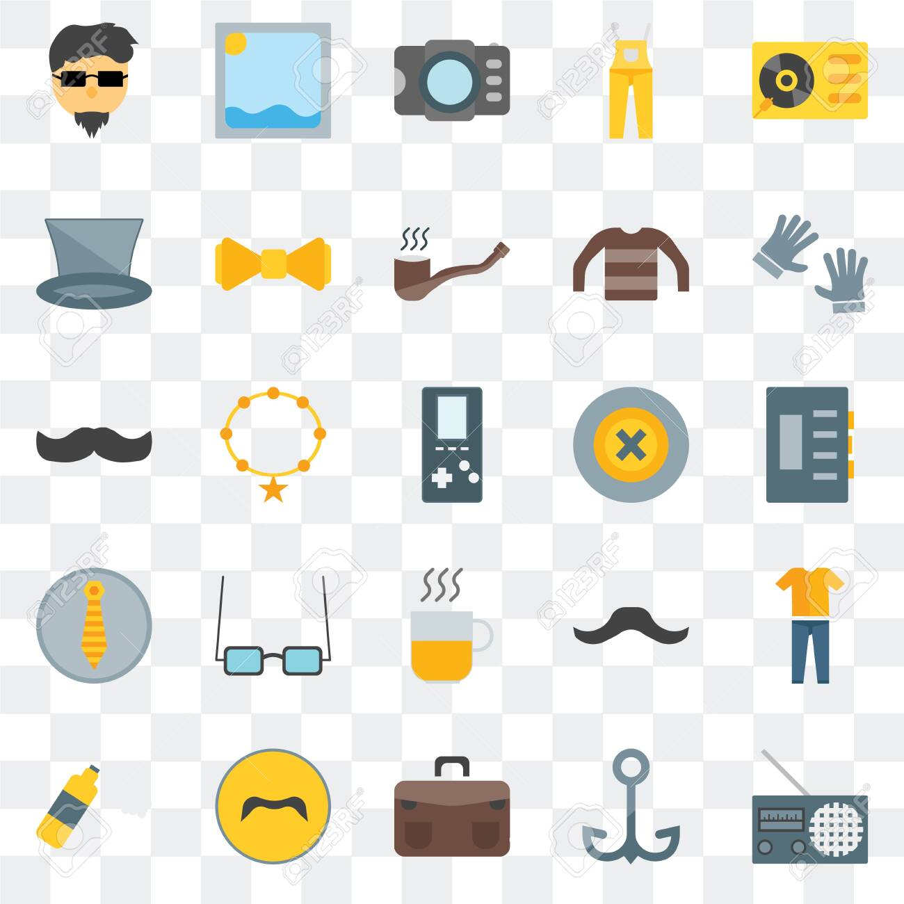 Set Of 25 transparent icons such as Radio, Navy, Briefcase, Mustache, Foam, Accesory, Buttons, Hot drinks, Photograph, Picture, web UI transparency icon pack - 130332375
