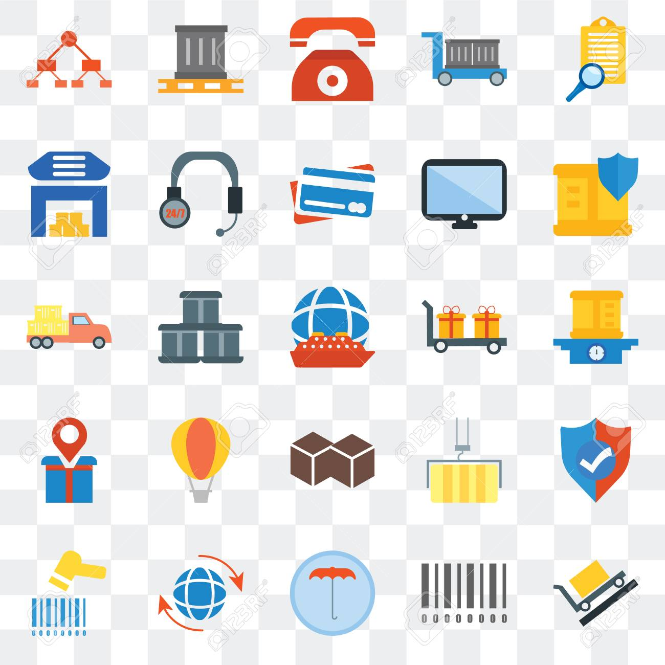 Set Of 25 transparent icons such as Package, Barcode, Umbrella,