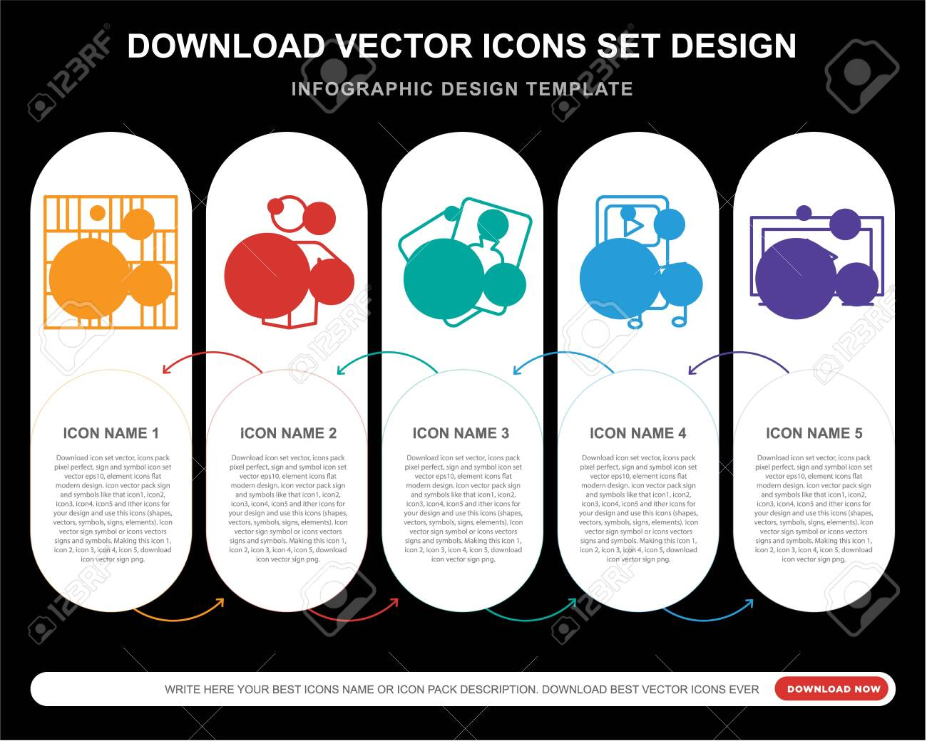 5 vector icons such as Chess board, Reading, Card, Tv for infographic, layout, annual report, pixel perfect icon - 130332378