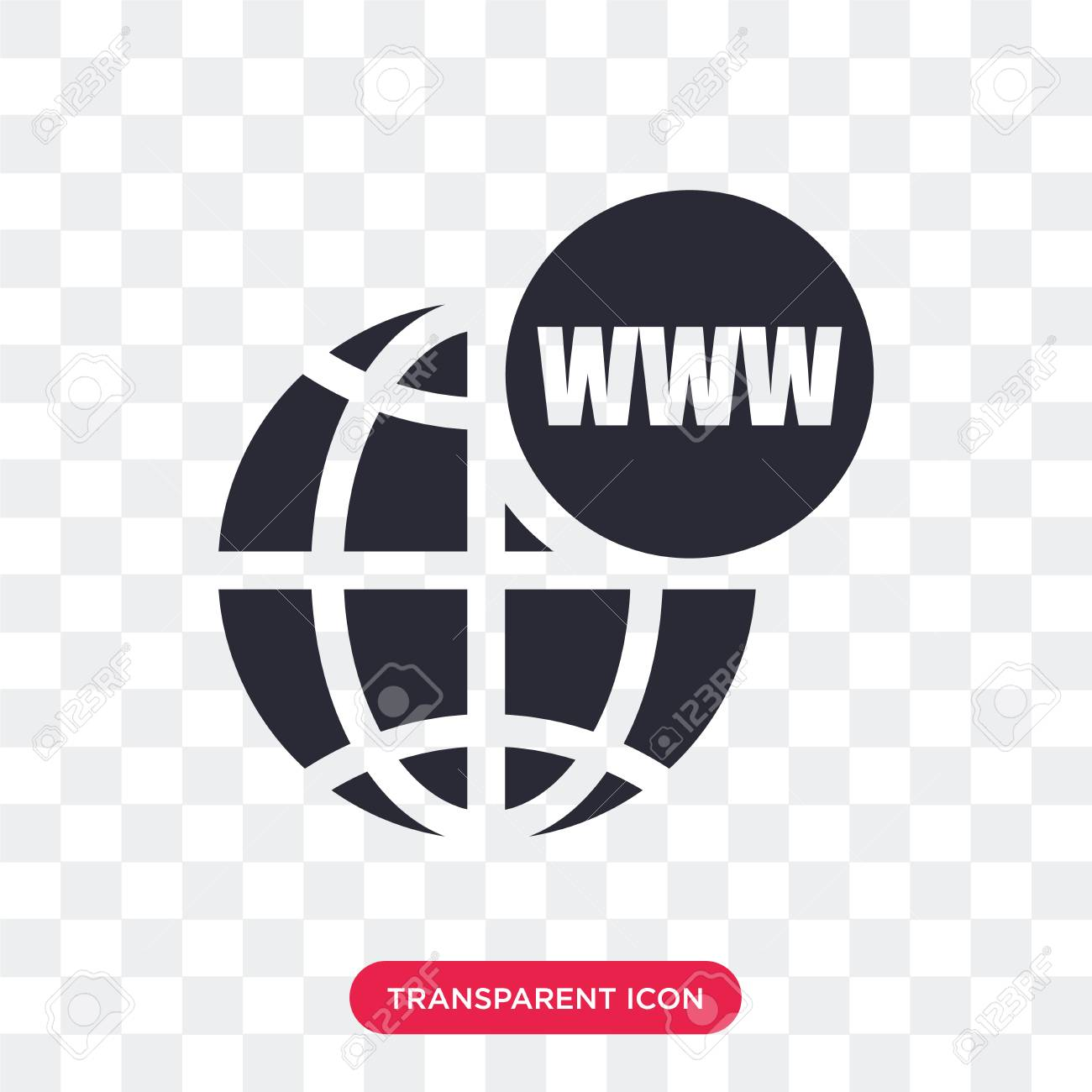World Wide Web on grid vector icon isolated on transparent background,