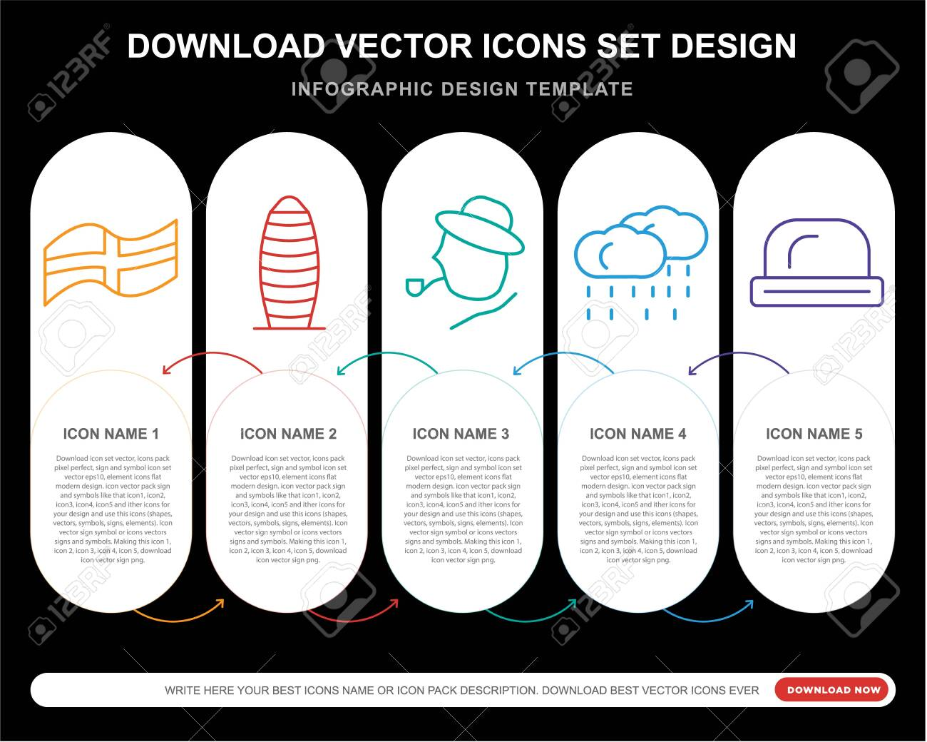5 vector icons such as England, Gherkin, Rainy, Bowler for infographic, layout, annual report, pixel perfect icon - 130332386