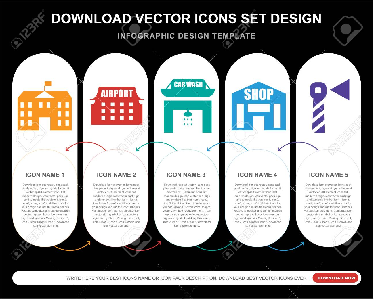 5 vector icons such as School, Airport, Car wash, Building, Lighthouse