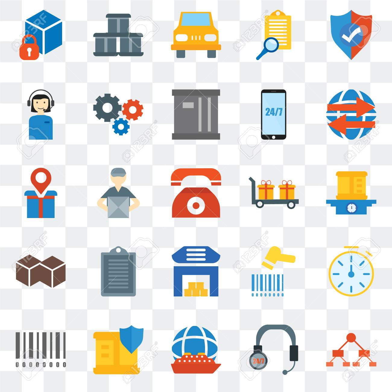 Set Of 25 transparent icons such as Diagram, Package, Global