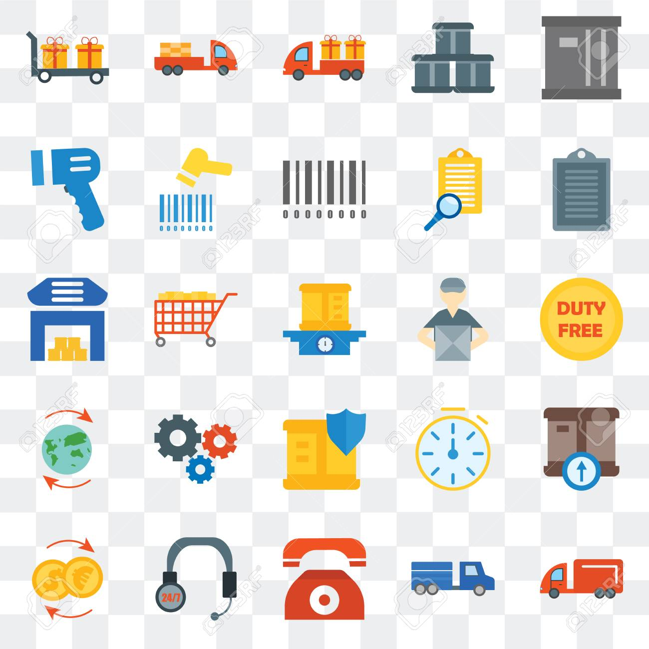 Set Of 25 transparent icons such as Moving truck, Duty free,