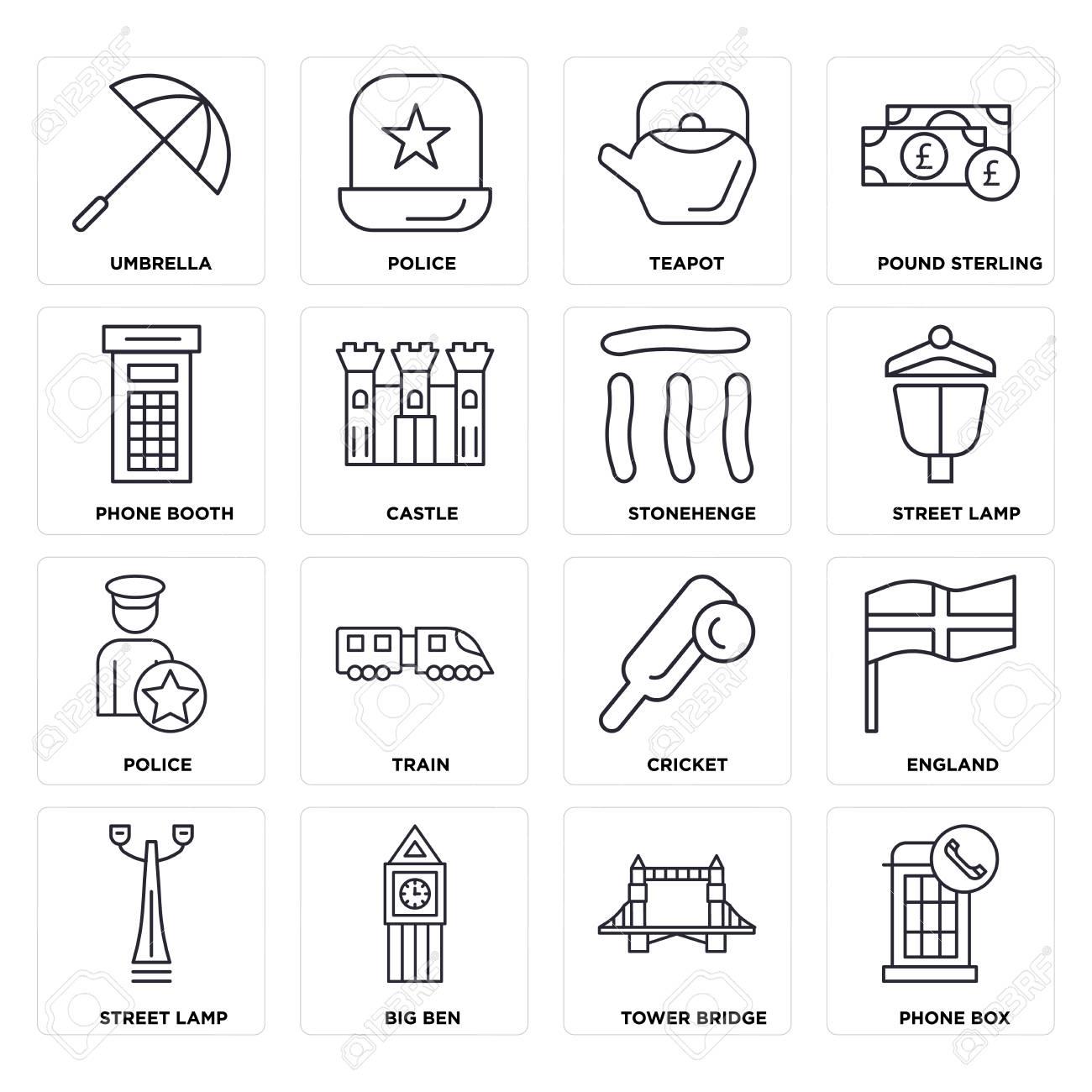 Set Of 16 Icons Such As Phone Box Tower Bridge Big Ben Street