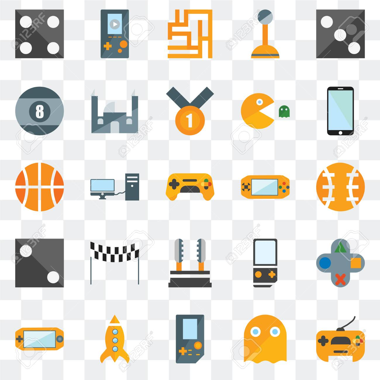 Set Of 25 transparent icons such as Gamepad, Ghost, Missile,
