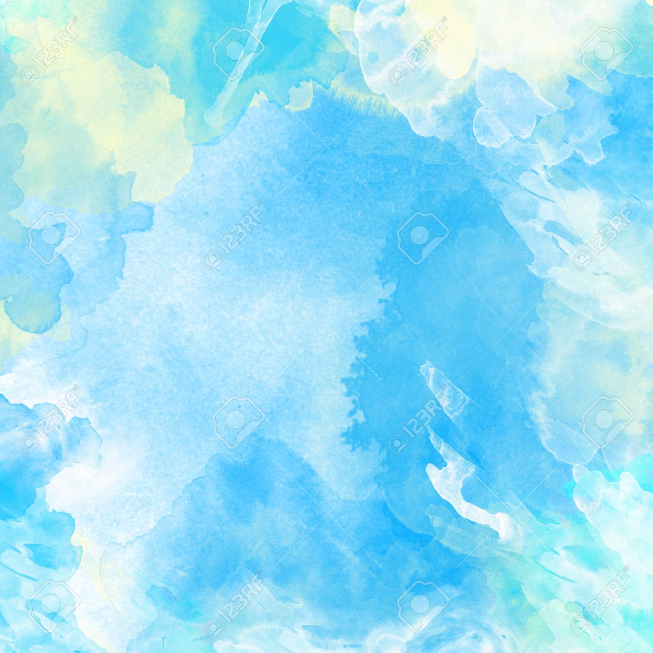 stock photo watercolor painted background in light blue and white