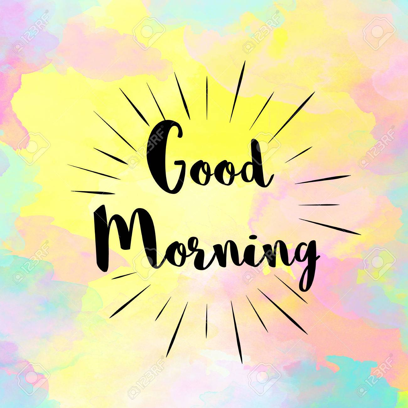 Good Morning Message On Watercolor Painted Background Stock Photo   56708521
