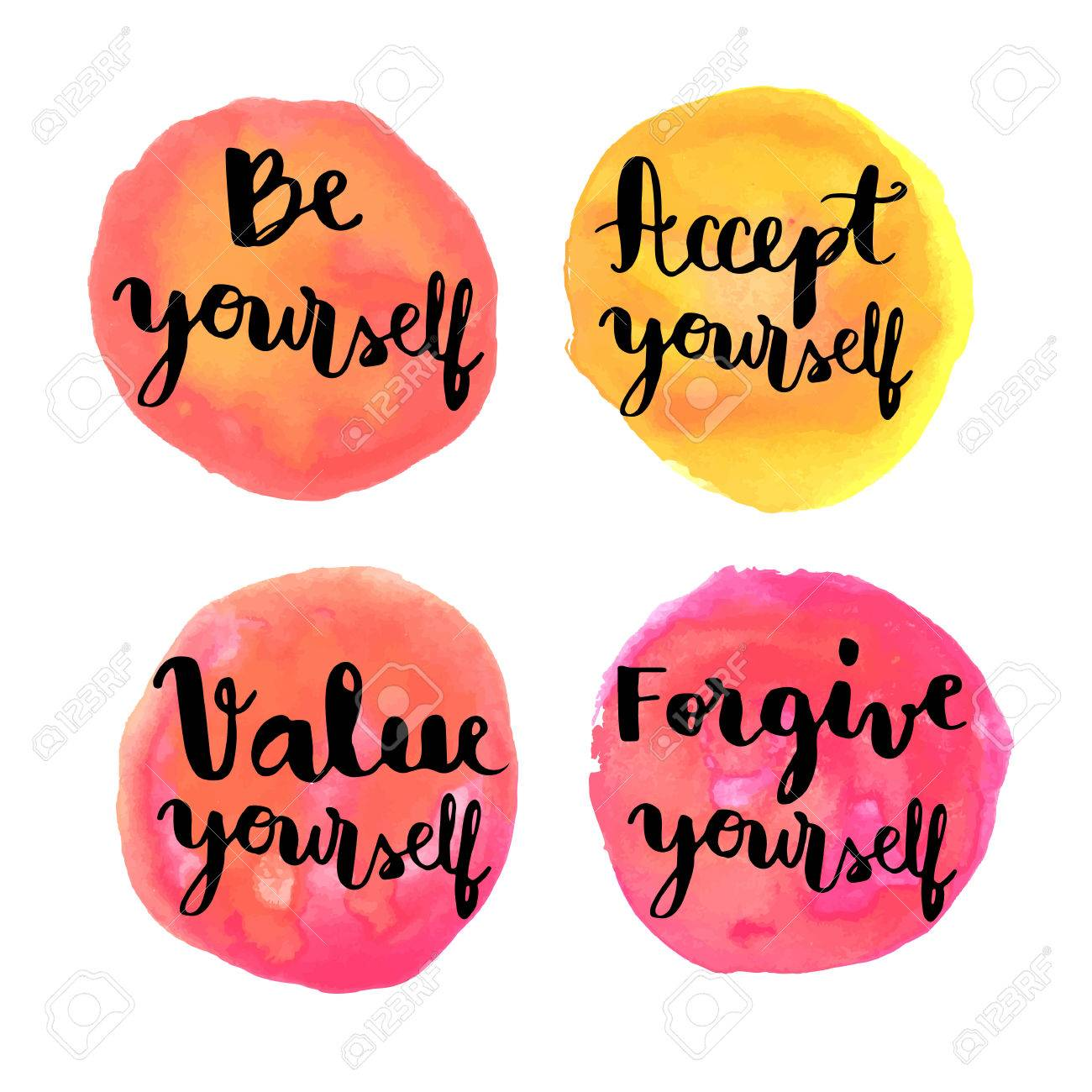 Motivational Messages Be Yourself Hand Lettering Motivational Messages On Watercolor