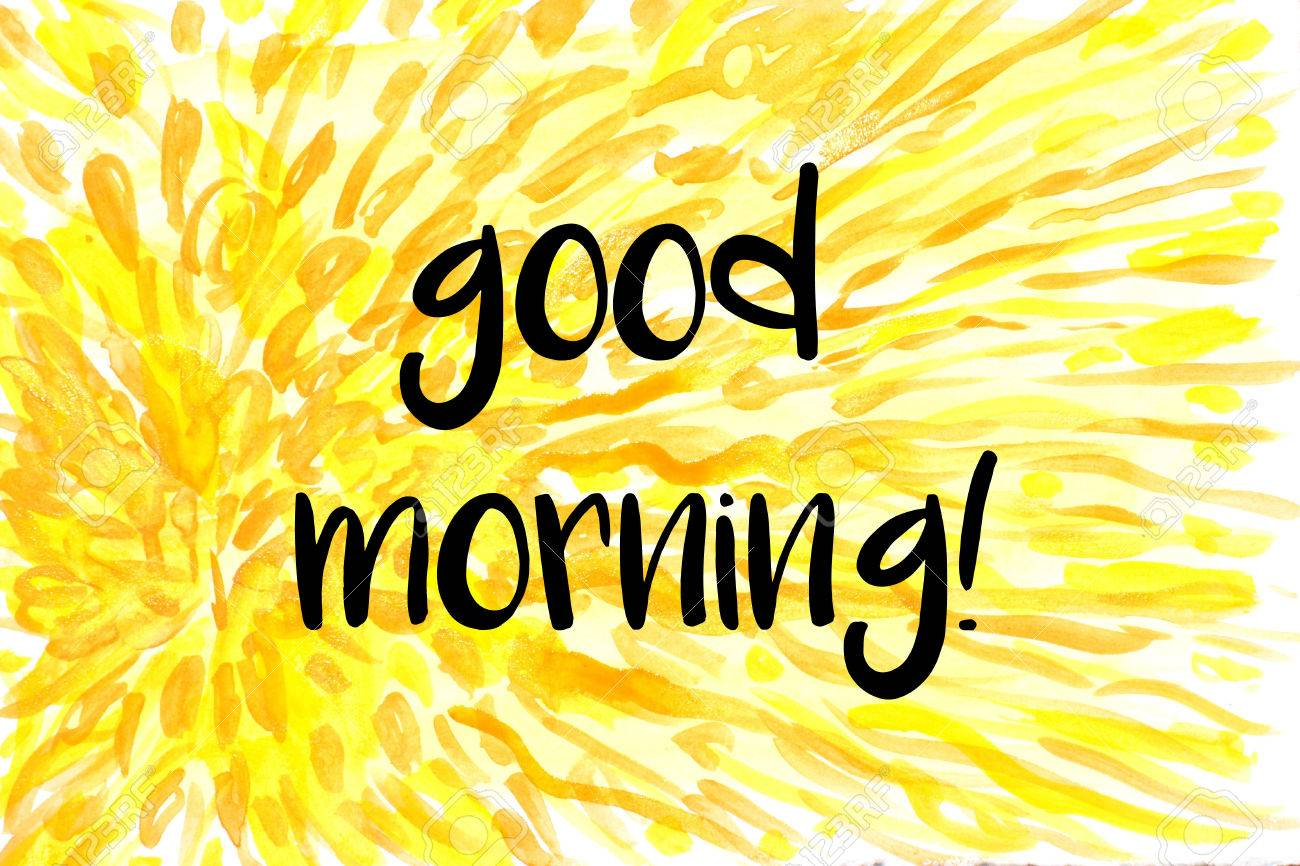 Good Morning Greeting On Yellow Watercolor Painted Background Stock