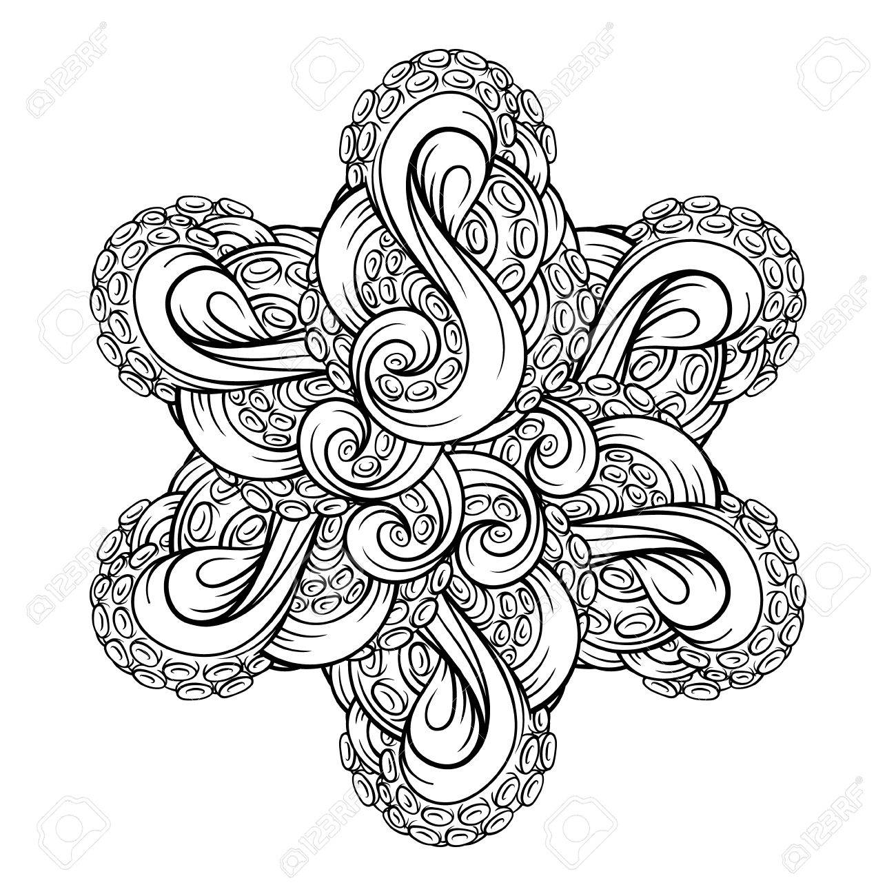 black and white octopus tentacles star shape pattern royalty free