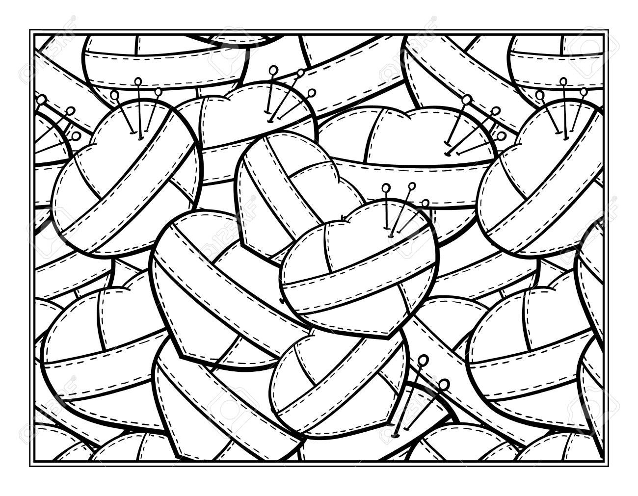 Genähte Herzen Dekorative Zier Malvorlagen Für Kunsttherapie
