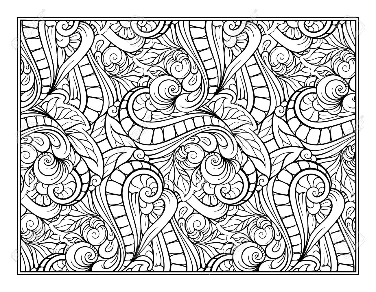 Paisley And Mandala Pattern In Frame Square Coloring Page Relaxation Book For Adult