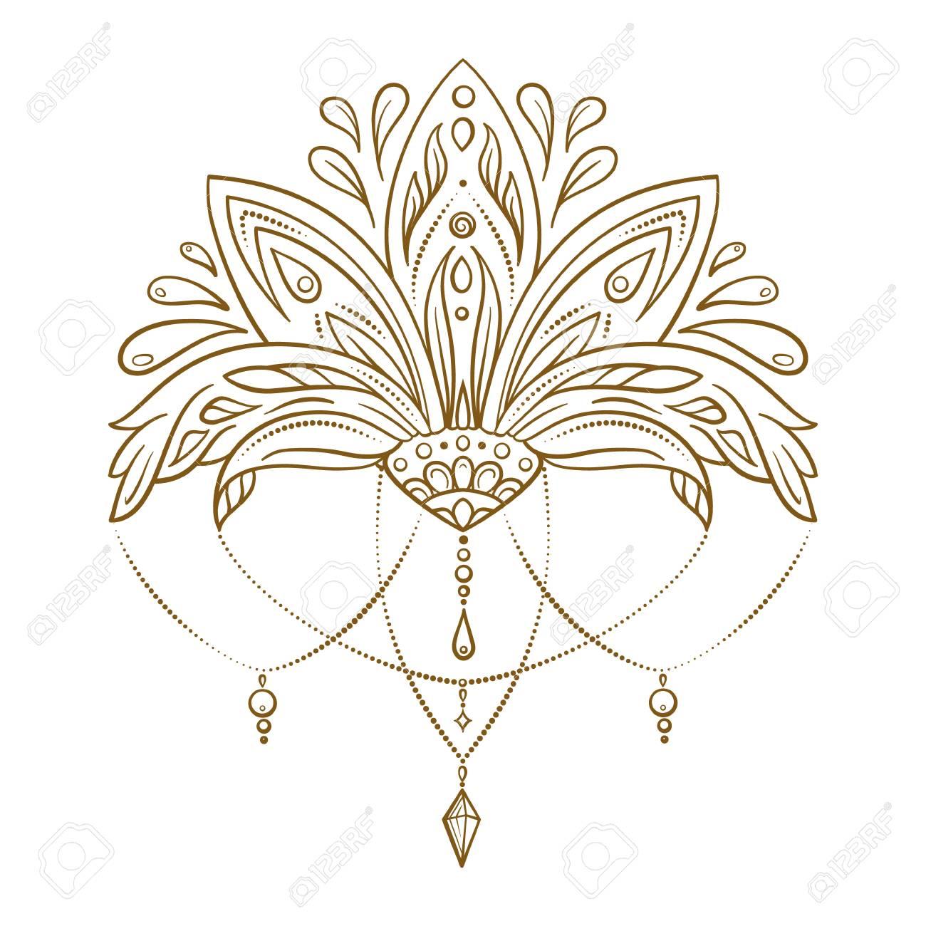 Hand Drawn Vector Lotus Flower Oriental Magic Symbol For Adult