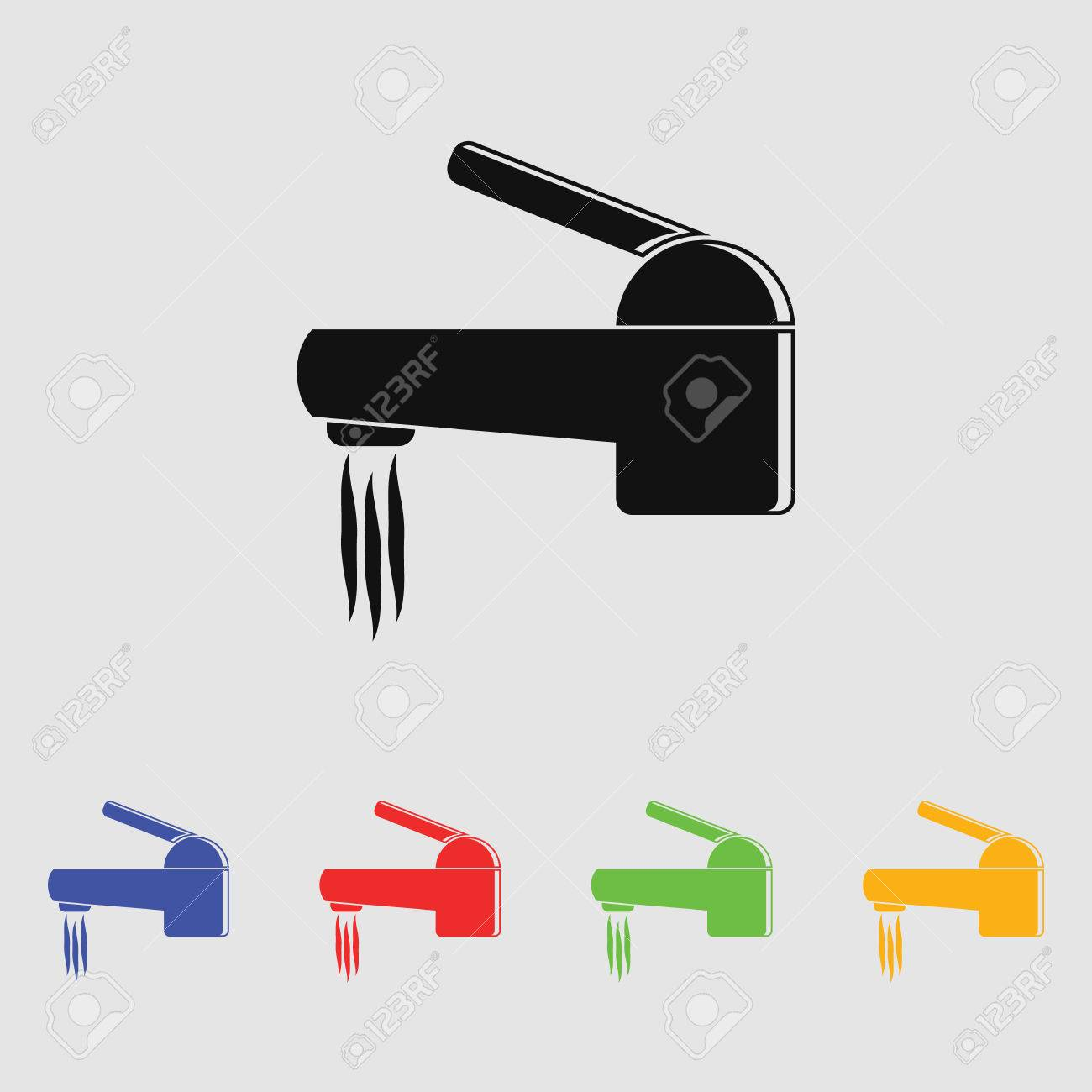 Water Faucet Vector Icon. Flat Style For Web And Mobile Royalty Free ...