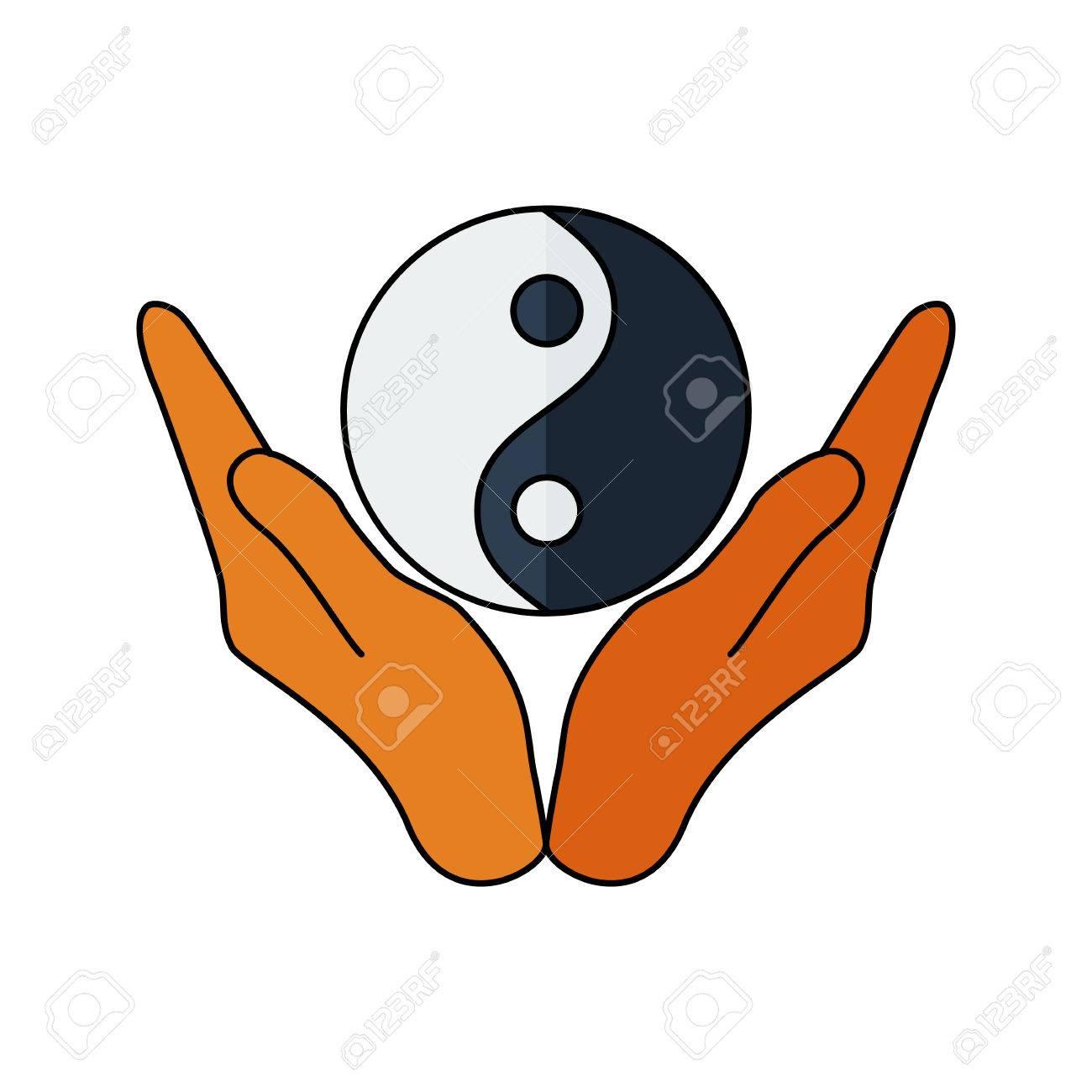 vector illustration of hands holding yin yang symbol religion rh 123rf com Vector Wings Colorful Yin Yang