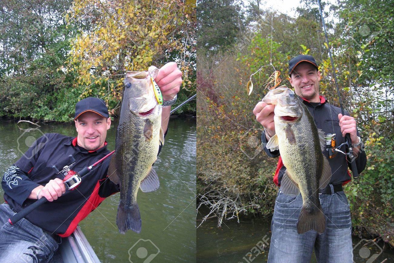 A lucky bass fisherman Stock Photo - 15360588