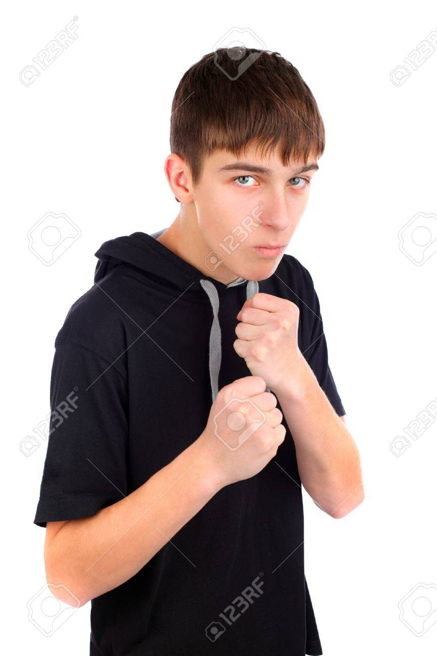 teenager in boxer pose isolated on the white Stock Photo - 9872218