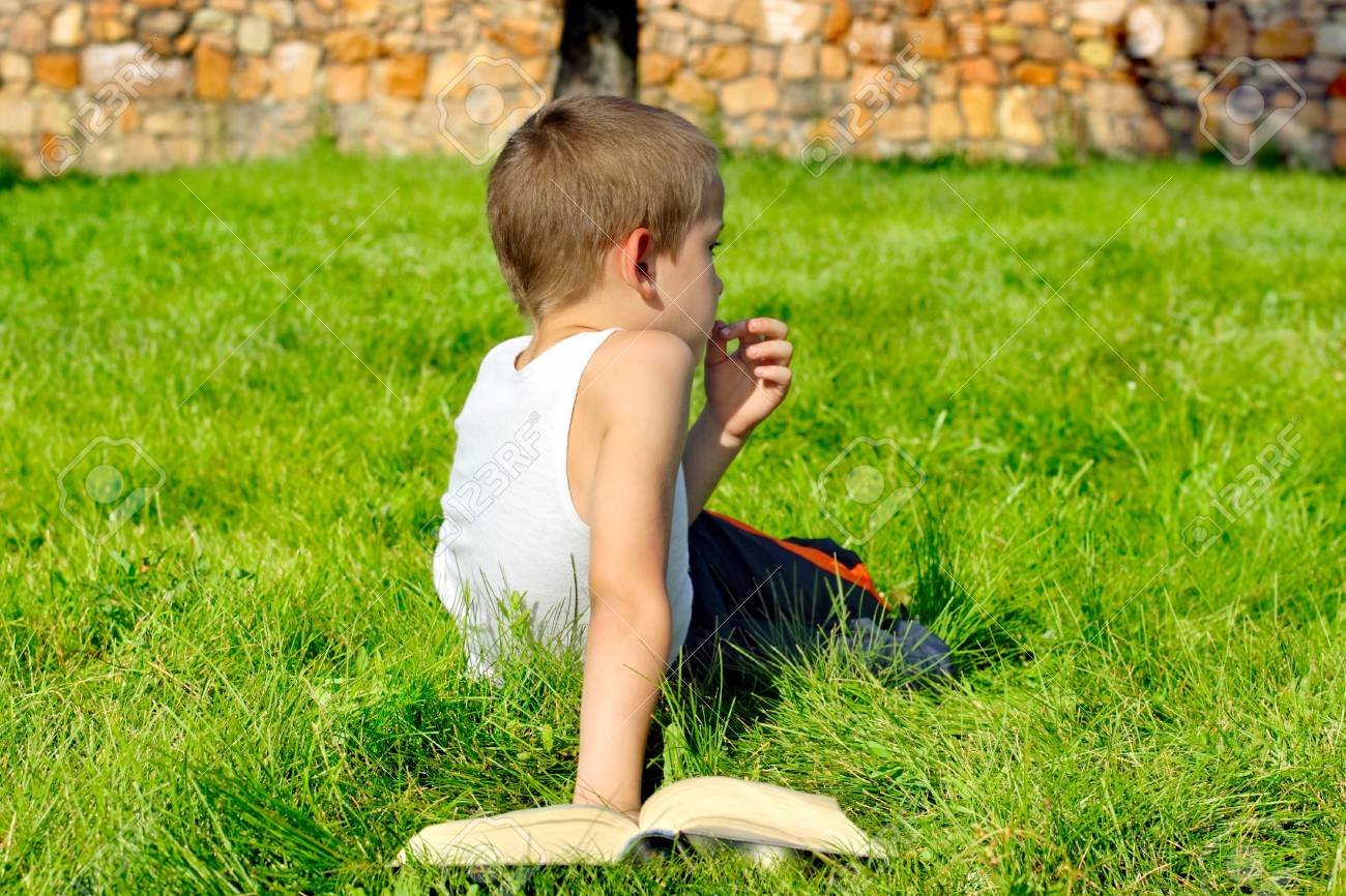 bored boy with a book on the summer meadow Stock Photo - 9872711