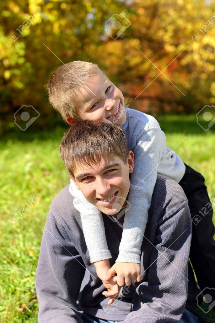 happy brothers portrait outdoor Stock Photo - 10232815