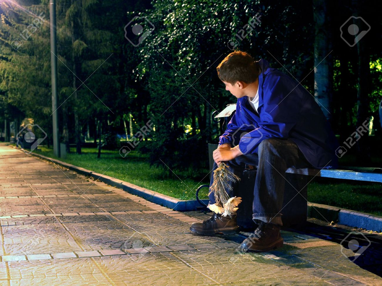 sad teenager in the night park with flowers Stock Photo - 11221157