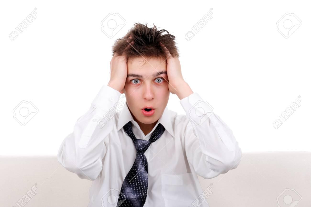 Shocked Teenager Isolated on the White background Stock Photo - 16380105