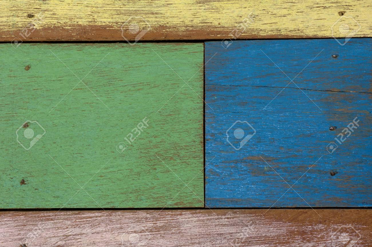 Detail Der Abstrakten Kunst Farbe Holz Wand Gelb Grün Blau Braun