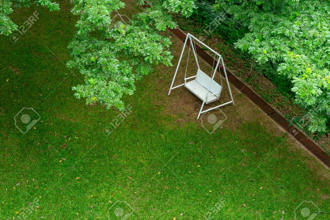 Pleasing White Swing Bench Chair Under Green Tree On The Green Garden Camellatalisay Diy Chair Ideas Camellatalisaycom