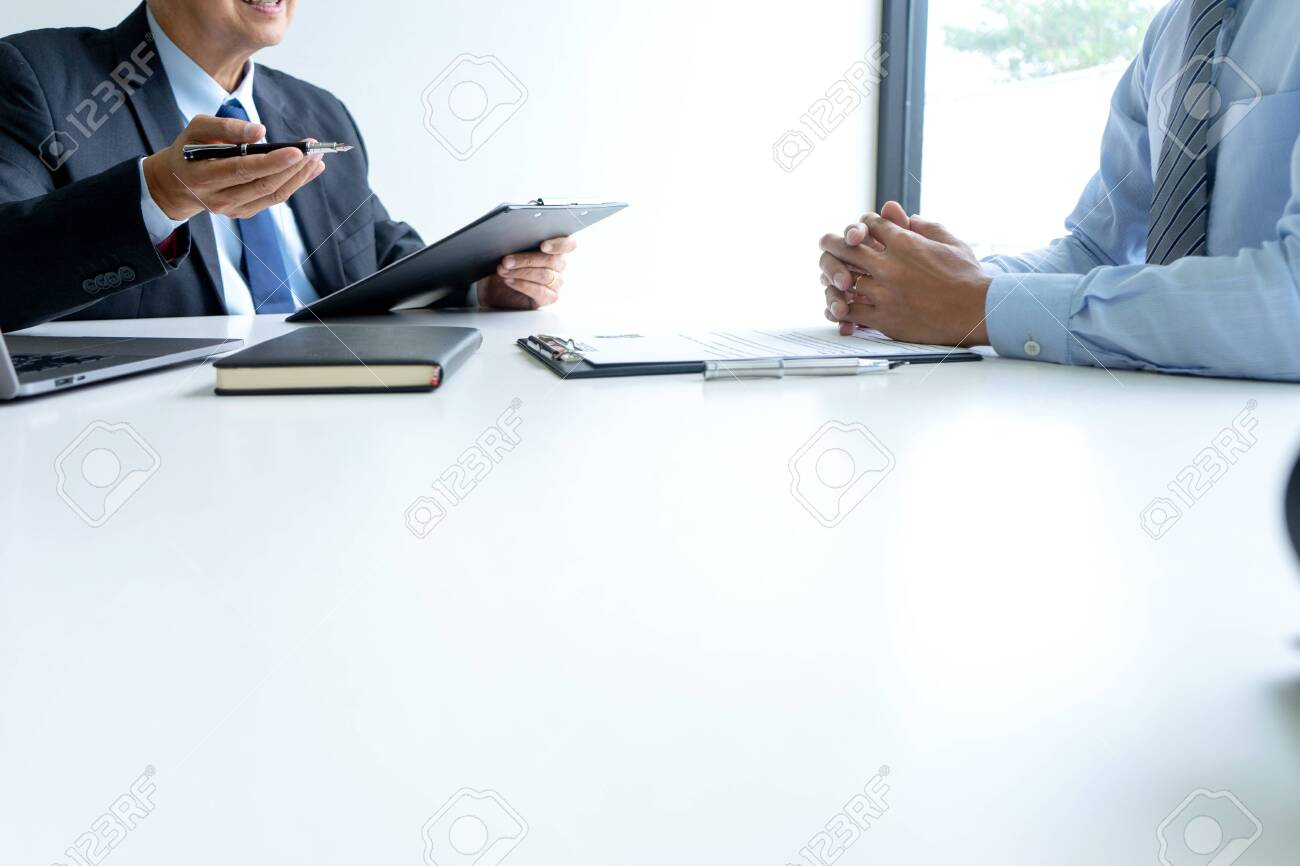 Businessman group in office, young asian people sit and speaking with resume while interviewing as candidate for job in big company. career and recruitment concept - 131519139