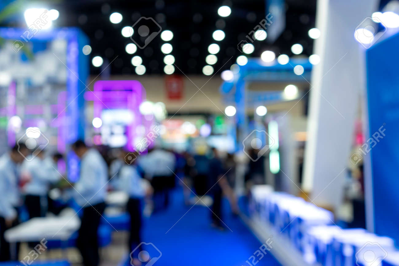 Blur image of Exhibition trade fair event convention hall business blur background of money business expo - 169229806