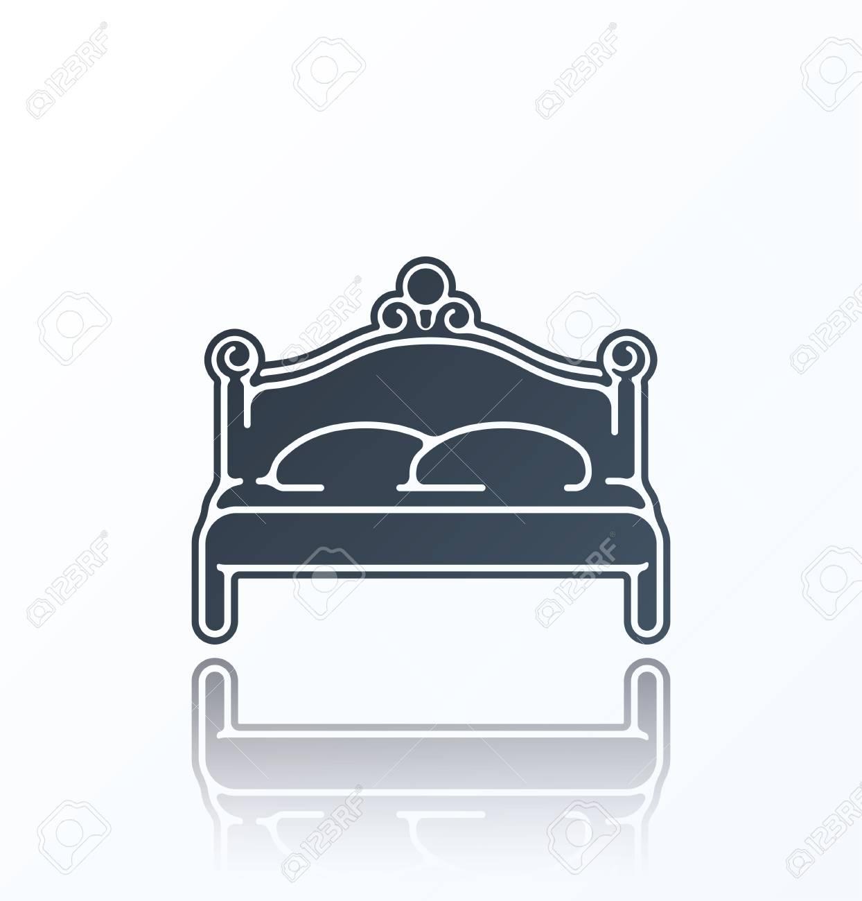 Bett Icon Auf Weissem Hintergrund Lizenzfrei Nutzbare Vektorgrafiken
