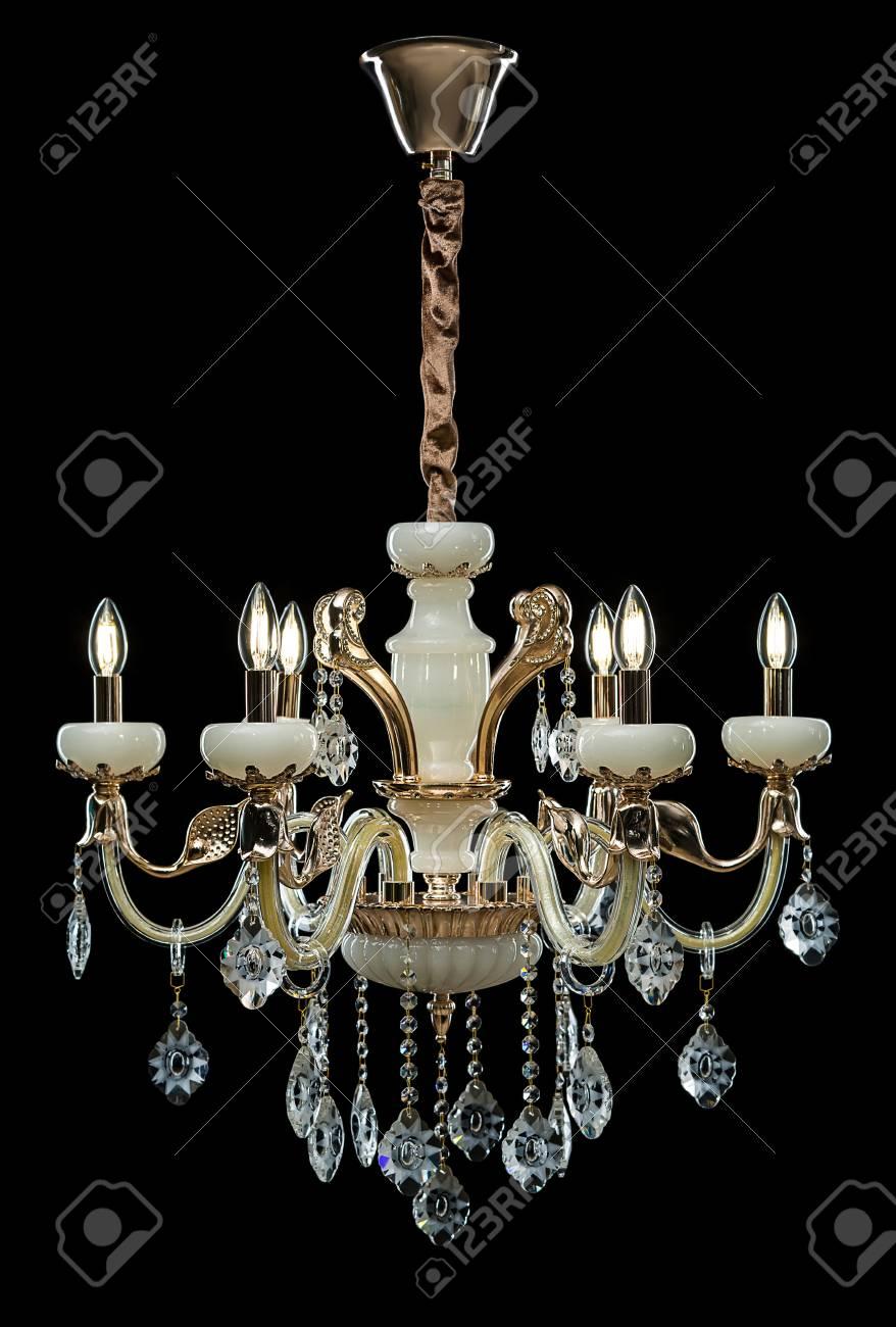 Lampadari Di Vetro.Lampadario Di Cristallo Di Vetro Bronze Contemporaneo Isolato Su Priorita Bassa Nera