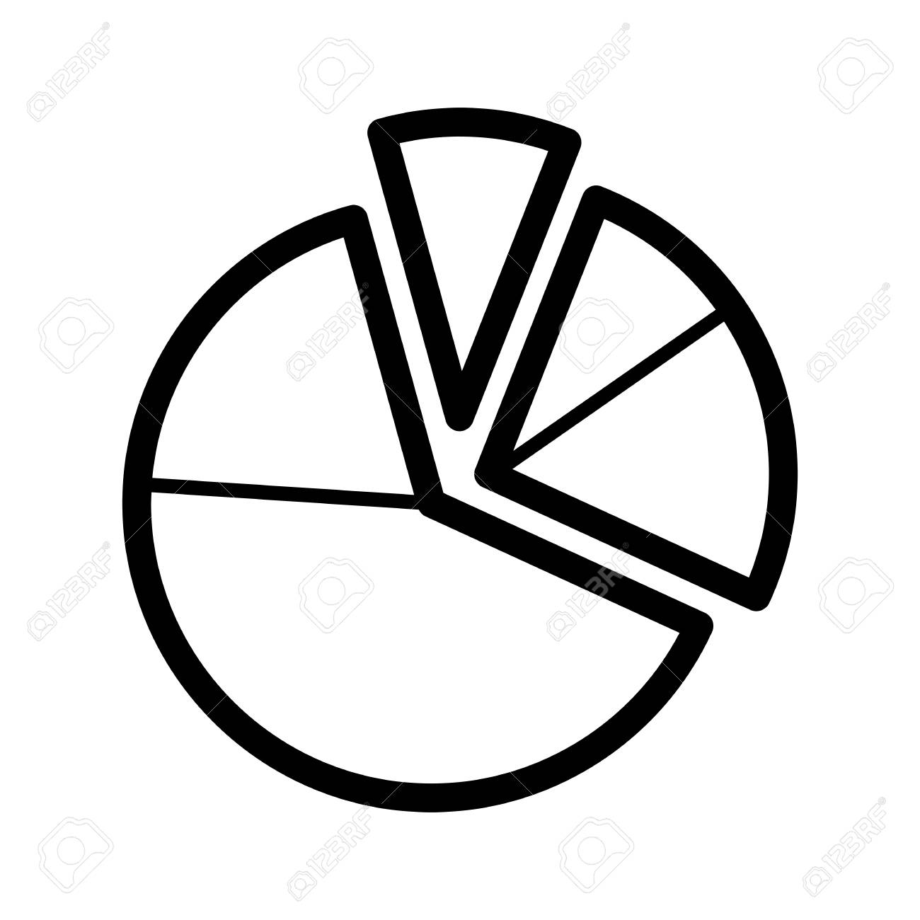 Pie chart diagram vector icon. Black and white graphic illustration. Outline linear analytical icon. - 78534462