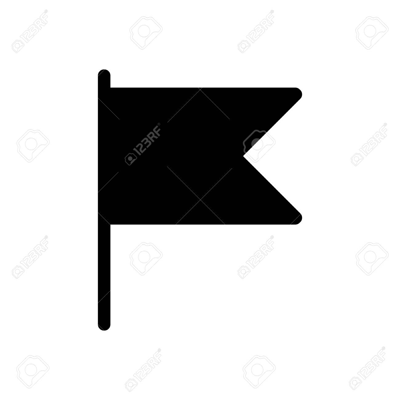 Small Table Flag Vector Icon Black And White Desk Flag