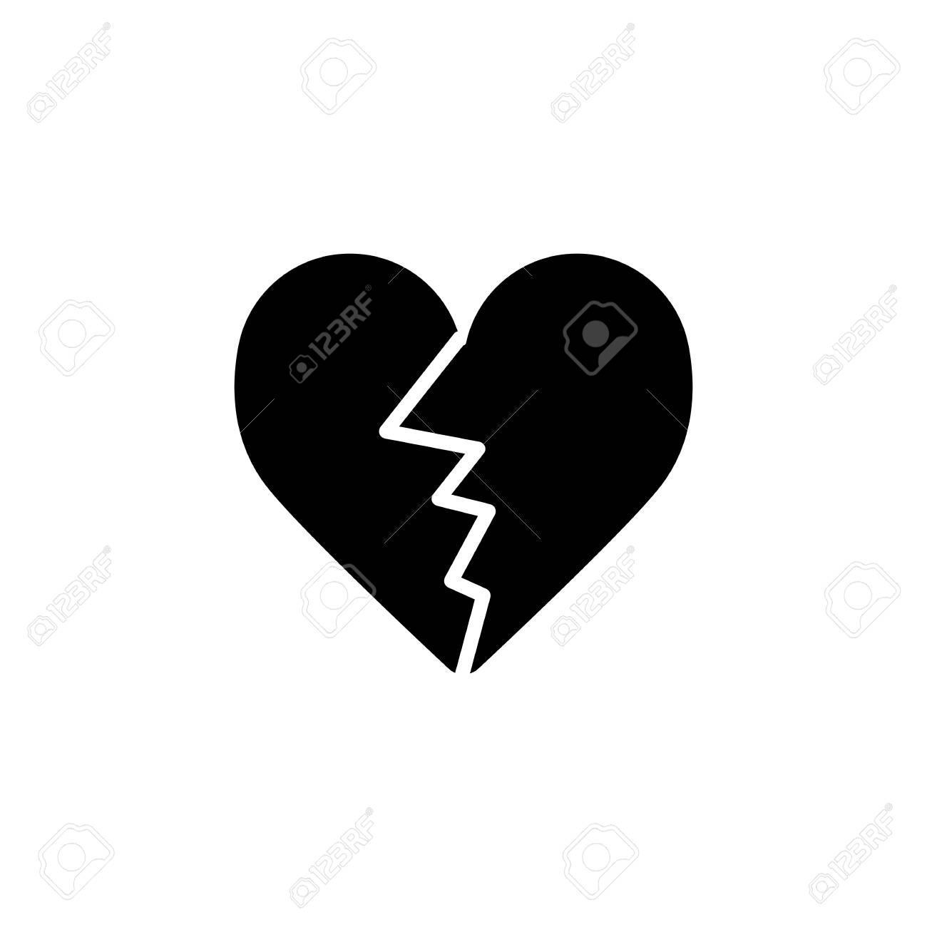 Icône De Vecteur De Coeur Fissuré Illustration D Amour Noir Et Blanc Icône Linéaire Solide Du C Ur Brisé