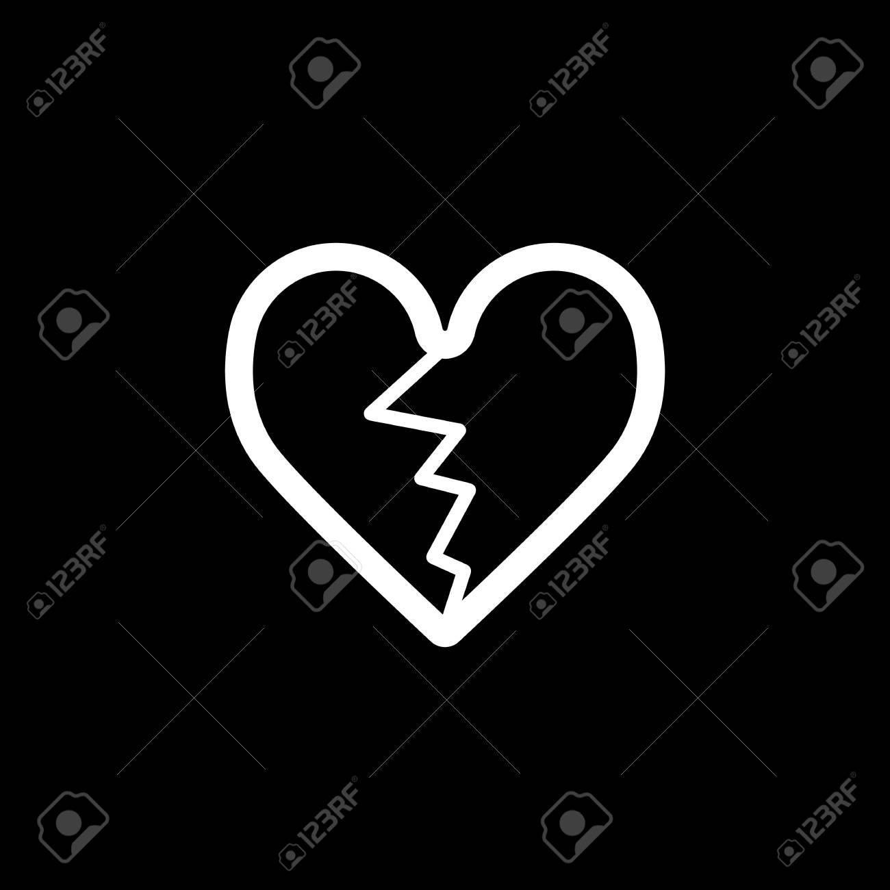Icono De Vector De Corazón Agrietado Ilustración De Amor Blanco Y
