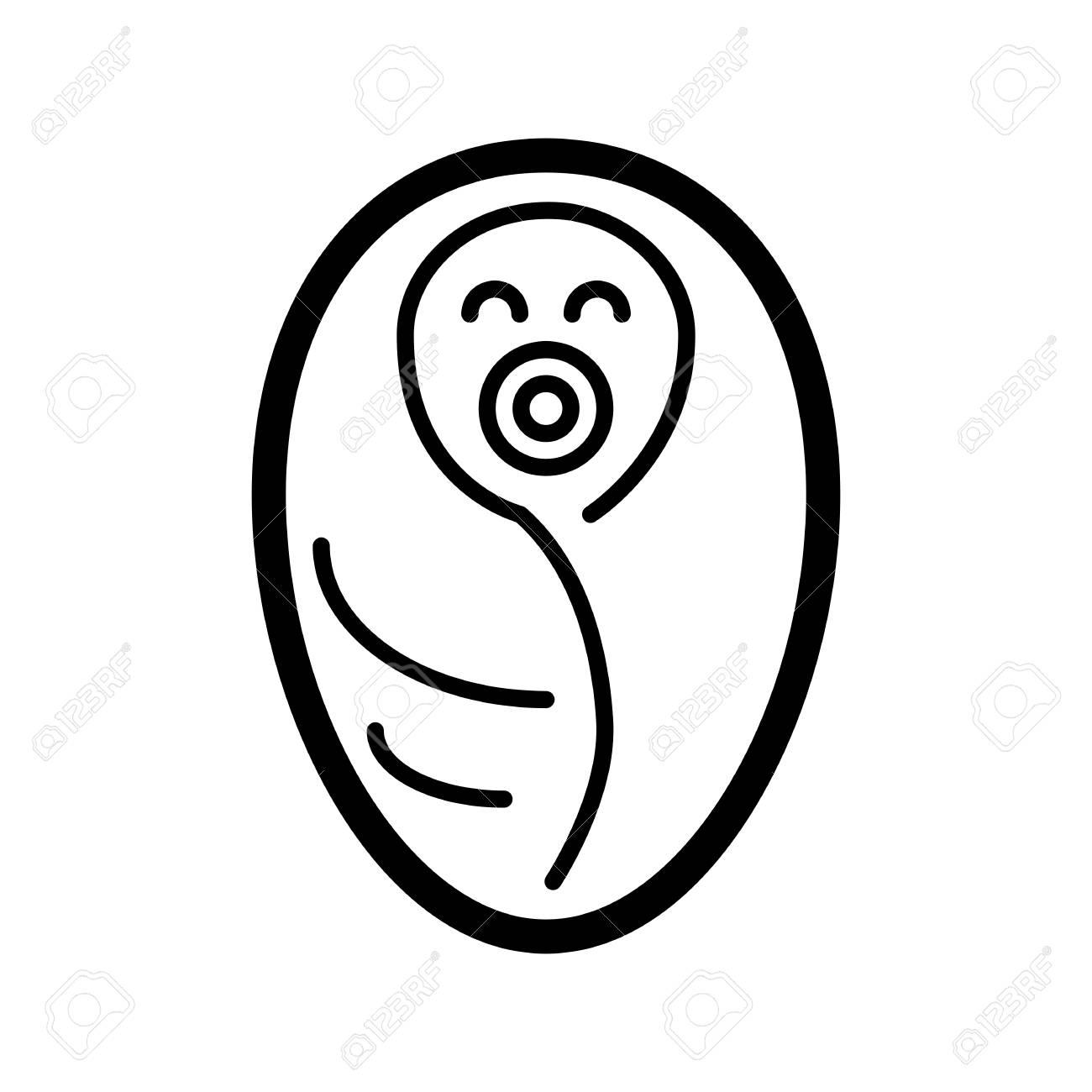 Neugeborene In Babydecke Vektor Symbol Eingewickelt Schwarz Weiß