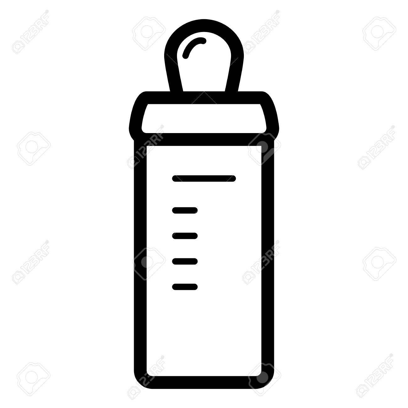 Baby Flasche Vektor Symbol Schwarz Weiß Baby Nippel Illustration