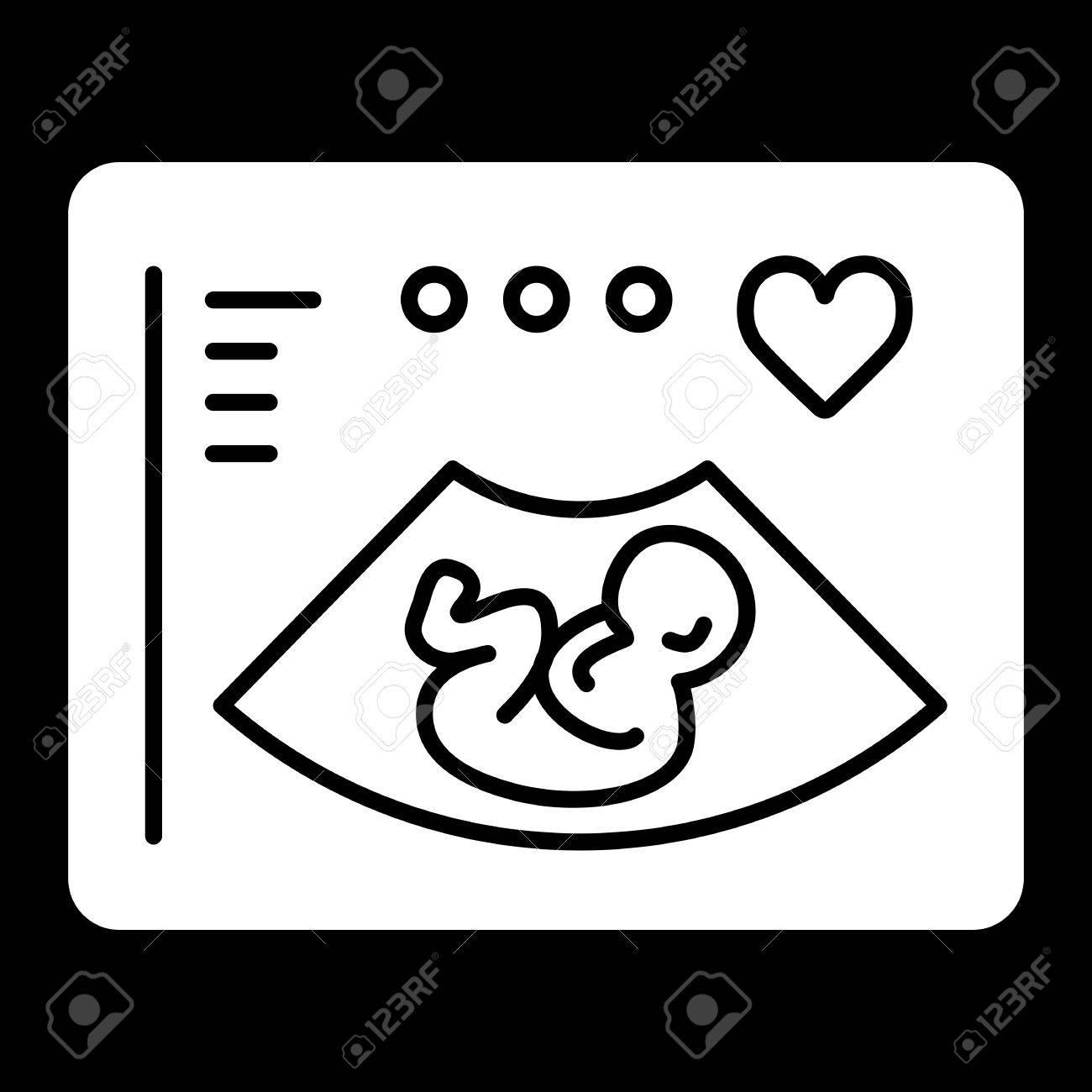 Ultraschall Vektor Symbol Schwarz Weiß Screening Baby Illustration