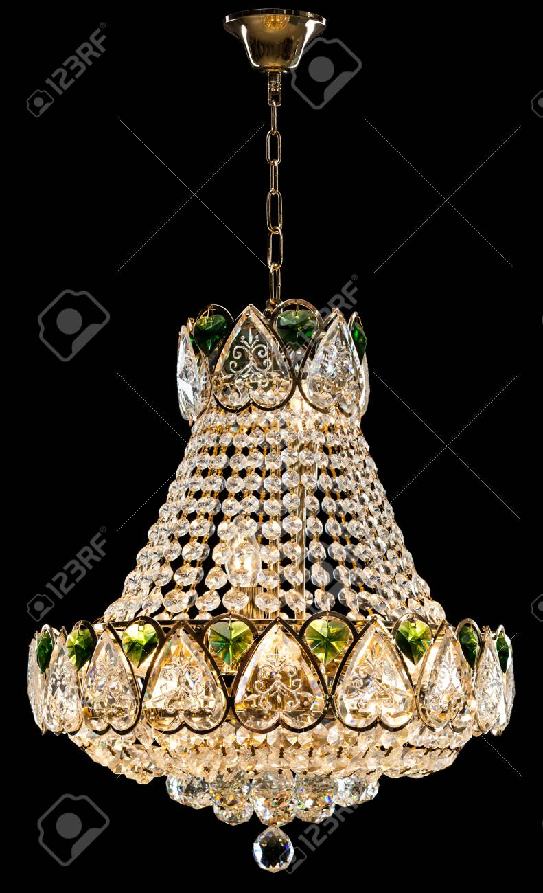 Large crystal chandelier in baroque style isolated on black large crystal chandelier in baroque style isolated on black background luxury royal expensive chandelier for aloadofball Image collections