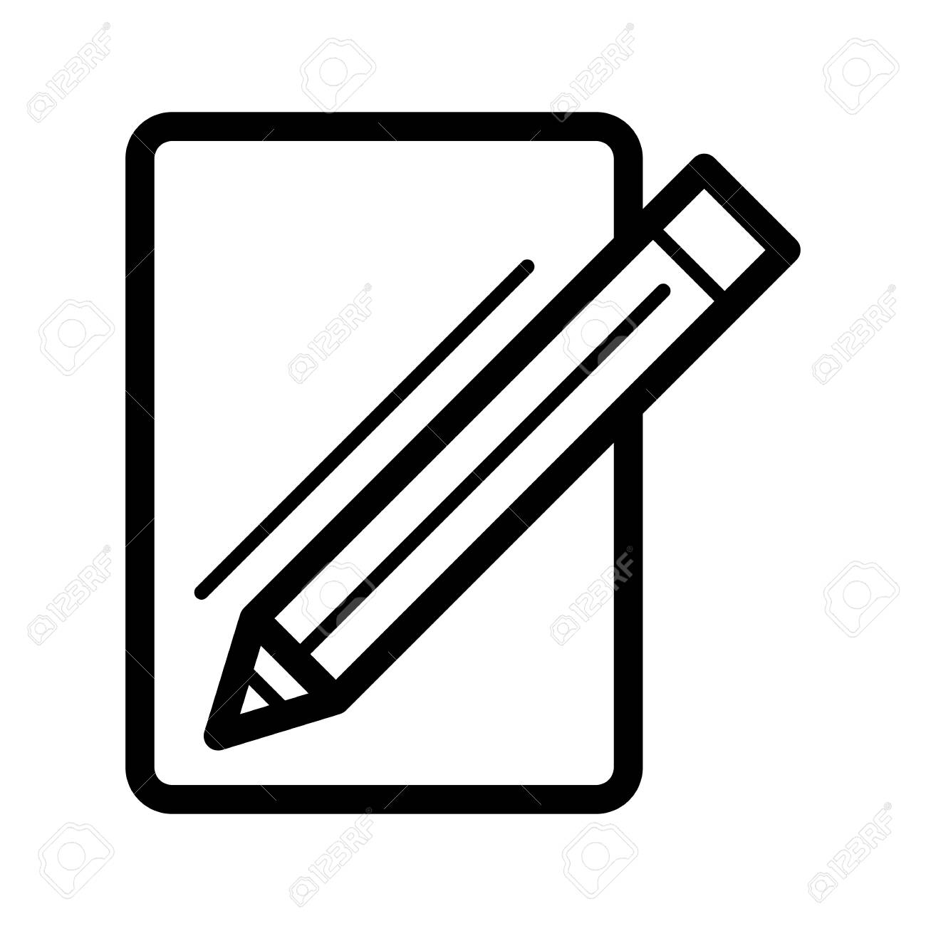 blank paper and a pencil vector icon. black and white illustration