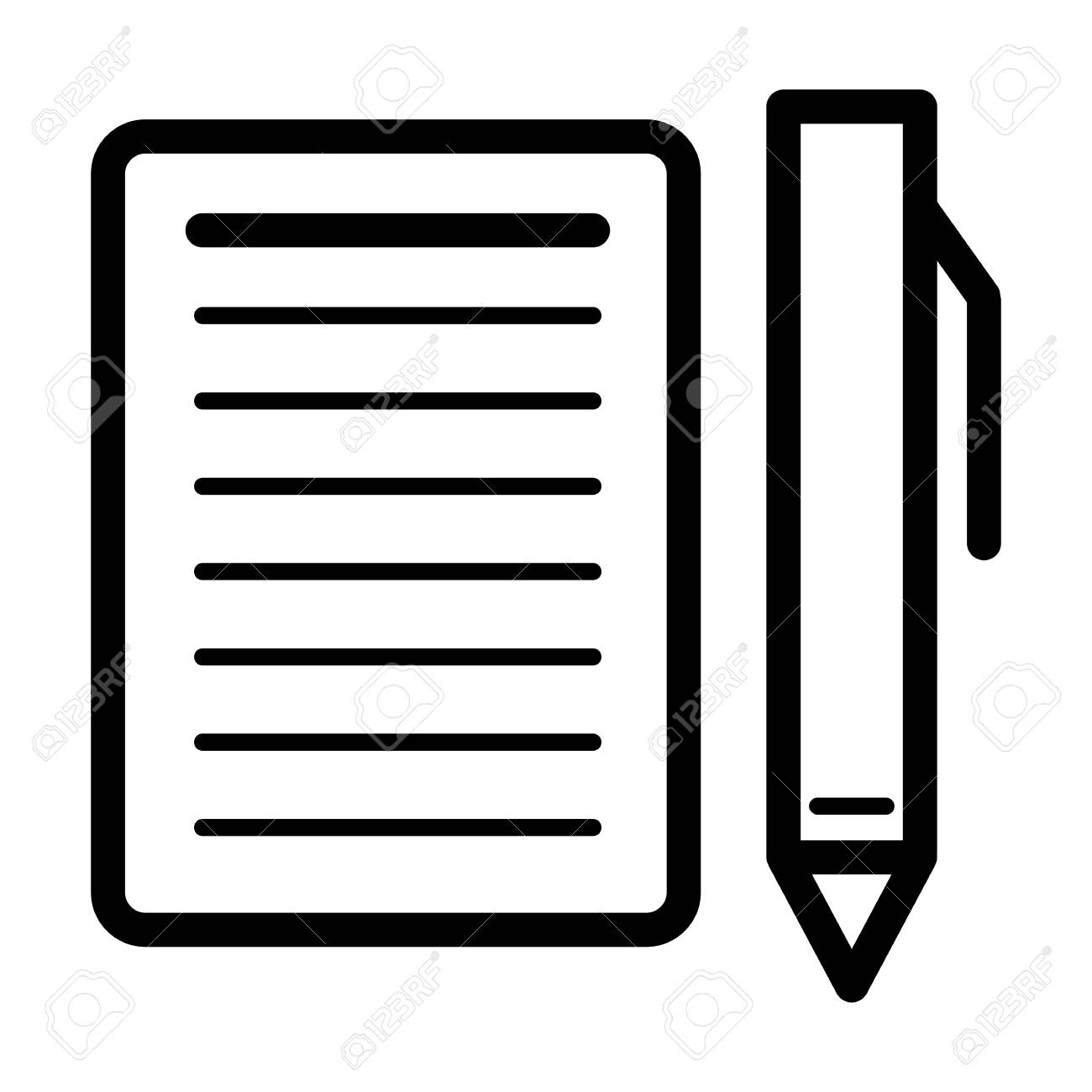 blank paper and a pen vector icon. black and white illustration