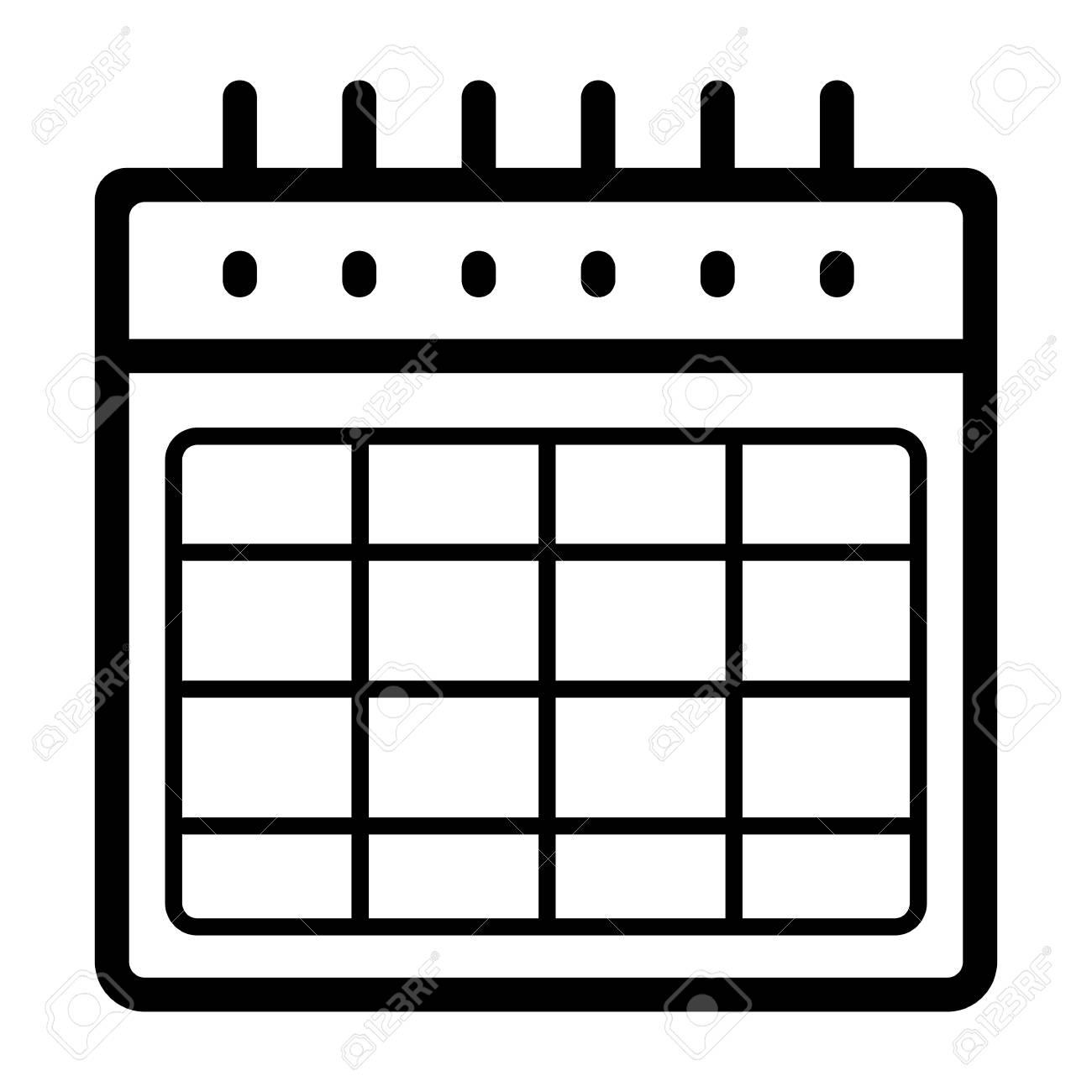Calendario En Blanco.Calendario Icono De Vector En Blanco Ilustracion En Blanco Y Negro Del Calendario Icono De Organizador Lineal De Contorno